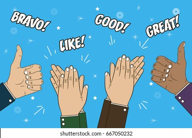 Hands clapping, applause and thumb up gesture. Congratulations concept illustration with text - bravo, great, like, good. Vector in cartoon style.