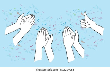 Hands clapping ovation and thump up on blue background. applaud hands. isolated vector illustration outline hand drawn cartoon design character.