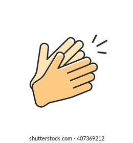 Hands clapping vector icon, applause flat cartoon outline linear design with clap sound illustration isolated on white background