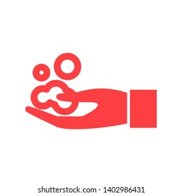 Hands cleaning with water icon, Hygiene symbol,ogo illustration. Editable stroke. Pixel perfect - Vector