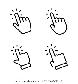 Hands clicking icons collection. Hand click pointer set.