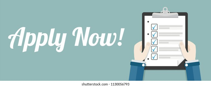 Hands with clipboard, checklist and text Apply Now. Eps 10 vector file.