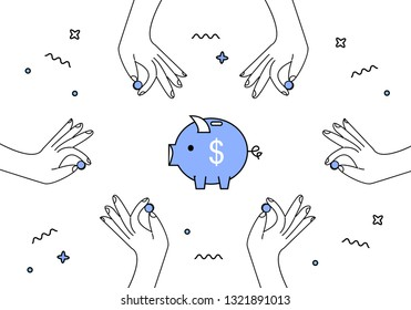 Hands with coins and piggy bank vector illustration. Charity, donation, NGO, business