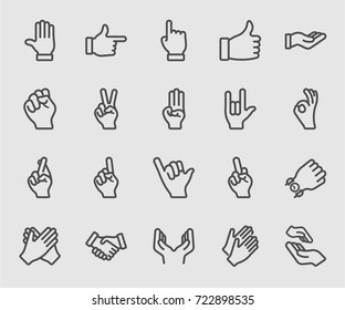 Hands collection line icon