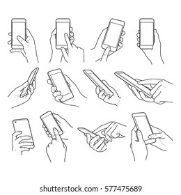 Hands collection outline on vintage background - hands holding phone