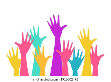 hands up colorful vector illustration isolated