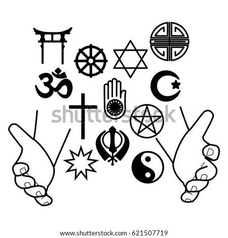 Hands Combination Religious Symbols Symbols Major Stock Vector