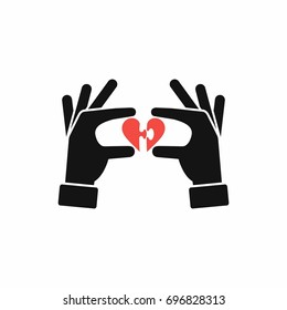 Hands connecting parts of puzzle heart, vector illustration.