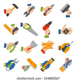 Hands with construction tools vector. Repair man hands holding equipment: saw, hammer, drill, perforator