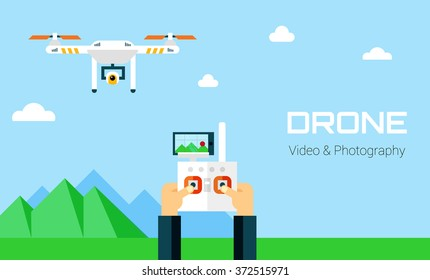 Hands controling unmanned aerial vechicle. Aerial Photography and Video vector illustration. Shooting and photography mountain landscape.
