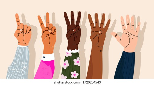 Hands counting by showing fingers. Numbers shown by hands. Variety of modern hand-drawn hand wrists. Cartoon style isolated elements. Trendy hand icons. Counting on fingers.