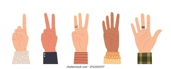 Hands counting. Count on fingers showing number one, two, three, four and five. Hand icons countdown gesture in trendy flat style vector set. Male and female palms with rings isolated
