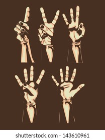hands counting over brown background vector illustration