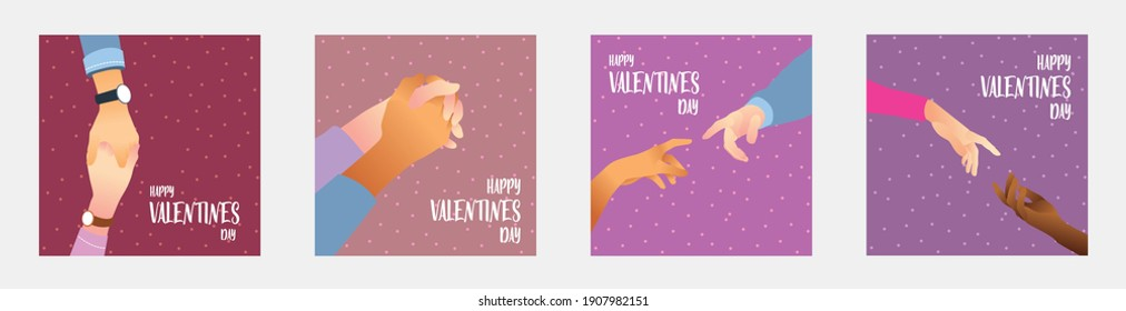 hands couple illustration with valentine colours, perfect for social media ads, poster, banner, website, etc.