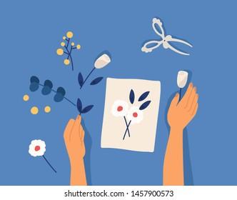 Hands creating decorative craftwork or handiwork - flower applique, herbarium, scarpbooking. Creative workshop lesson or tutorial. Leisure hobby activity. Flat cartoon colorful vector illustration.