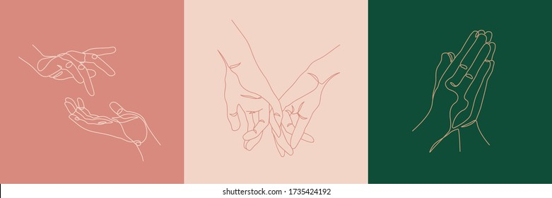 Hands creative compositions. Minimal line art style illustrations. Beauty and fashion concept. Eps10 vector.