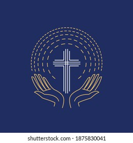 Hands with cross and sunburst. Christian logo vector