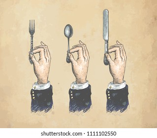 Hands with cutleries. Spoon, fork and knife. Vintage stylized drawing. Vector illustration in a retro woodcut style. Color version