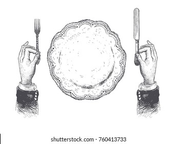 Hands with cutleries.Table setting with plate, fork, knife. Hand drawn vintage vector black and white illustration in a retro woodcut style