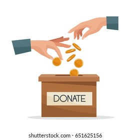 hands depositing coin in a carton box with text banner donate
