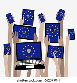 Hands with Devices European Union Free Roaming Eurozone,  WIFI with Stars
