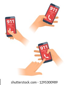 A hands dial 911 number on the smartphone screen. Female and male hands holding mobile phones and call emergency service. A serious, unexpected, dangerous situation flat vector concept illustration.