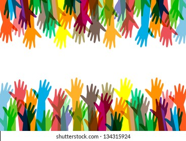 hands of different colors. cultural and ethnic diversity, vector illustration