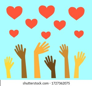 Hands of different people are raised up and a red heart. Symbol. Illustration.