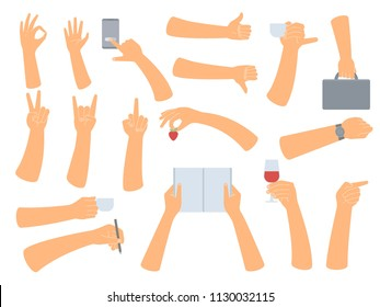 Hands in different poses. Big hand collection