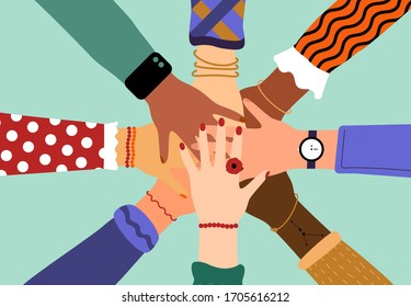 Hands of diverse group of people putting together. Concept of community, support, partnership, teamwork, social movement, friendship and cooperation. Flat cartoon vector illustration