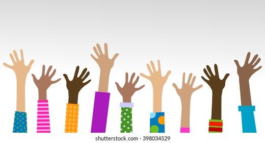 Hände unterschiedlicher gemeinsamer Hintergrund