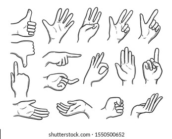 Hands doodles. Expression gestures human hands pointing shaking vector hand drawn style
