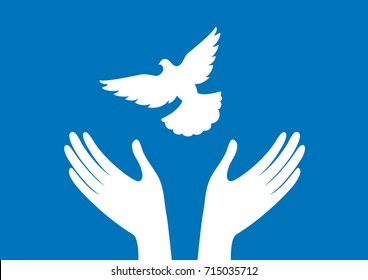 Hands with dove vector. Freedom vector illustration. Dove silhouette