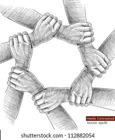 Hands Drawing Conceptual. Vector illustration