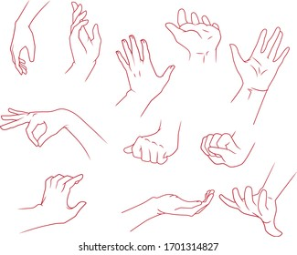 Hands drawing at some gestures.