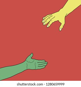 Hands are drawn to each other. Helping hand.
