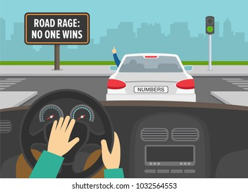 Hands driving a car on a crossroad. Road rage billboard. Man in front car rudely gesturing while driving. Flat vector illustration.