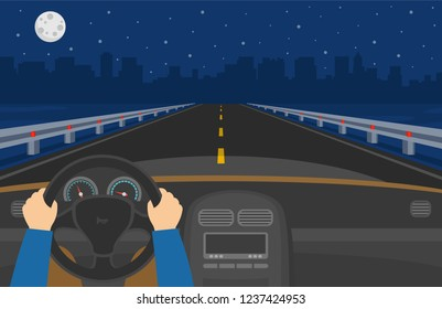 Hands driving a car on the highway at night. Flat vector illustration.