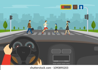 Hands driving a car on the street. Driver is waiting on red light while group of people crossing road on crosswalk with traffic lights. Flat vector illustration.