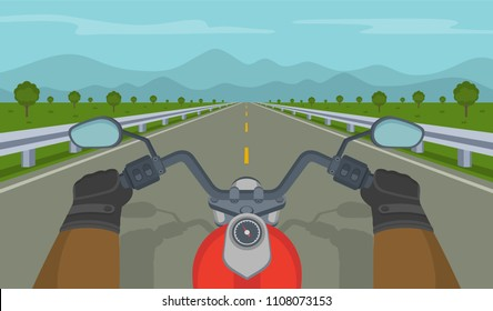 Hands driving a motorcycle on a highway. Biker rides a classic bike. Flat vector illustration.