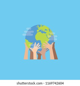 Hands with earth, Multiethnic People's hands holding the globe, peace day