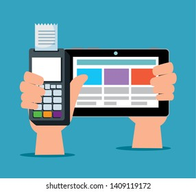 hands with electronic dataphone and tablet technology