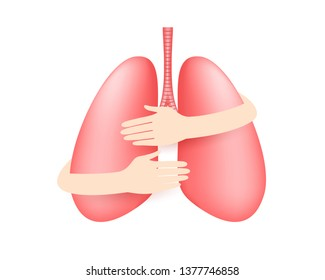 Hands embrace human lung. Health care concept. Icon design. Illustration isolated on white background.