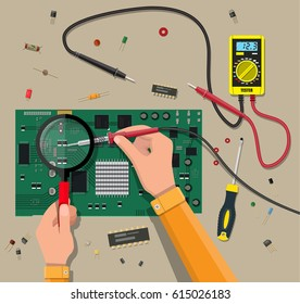 Hands of engineer with digital multimeter and soldering tool checks motherboard. PC hardware. Components for personal computer. Service, recovery, warranty, fixing. Vector illustration in flat style