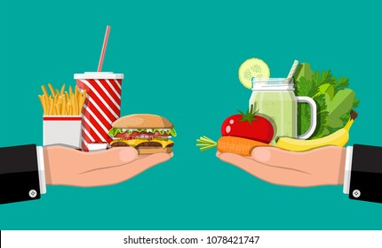 Hands with fast food and organic products. Diet, nutrition, fitness and weight loss or overweight and fat. Greasy cholesterol vs. vitamins from fruits vegetables. Food choice. Flat vector illustration