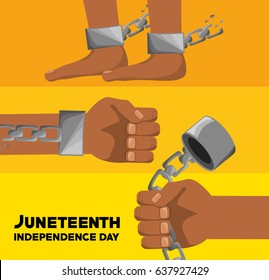 hands and feet with chain to celebrate juneteenth independence