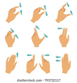 Hands and fingers touching screen of laptops, tablet and smartphones. Move finger gesture, touch and press illustration