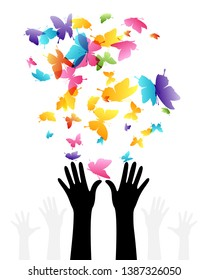 Hands with flying up color butterflies . Vector isolated decoration element from scattered silhouettes. Conceptual illustration of group community and social organization.