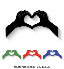 hands in the form of heart icon - black and colored (green, red, blue) illustration with shadow