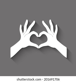 hands in the form of heart icon - white vector illustration with shadow on gray background
